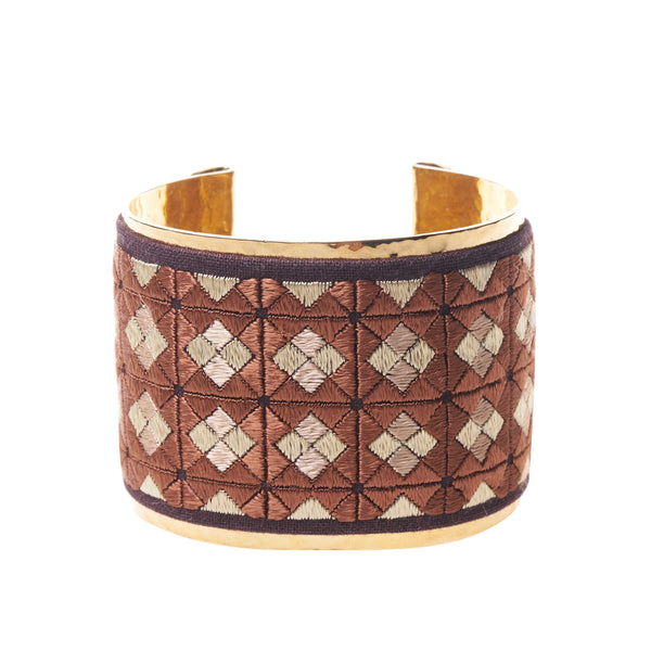 Global Goods Partners | Kandahar Treasure Mercedes Salazar Gold Cuff Brown Diamond Square Handmade Hand Embroidered Silk Embroidery Kabul Rangina Hamidi Fair Trade Ethical Bracelet Gifts That Give Back Luxury Empower Women Afghanistan Colombia