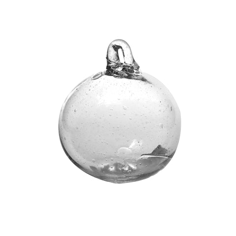 Clear Small Glass Ornament handmade in Syria | Global Goods Partners Medium Decorated Boule Aqua Details Floral