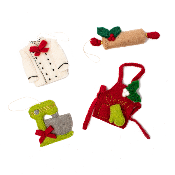 Felt Kitchen Ornaments - Set of 4