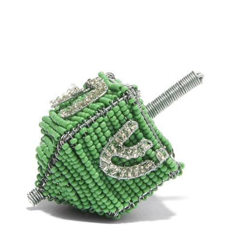 Wire Art Beaded Dreidel, green: Handmade in South Africa Chanukah Global Goods Partners