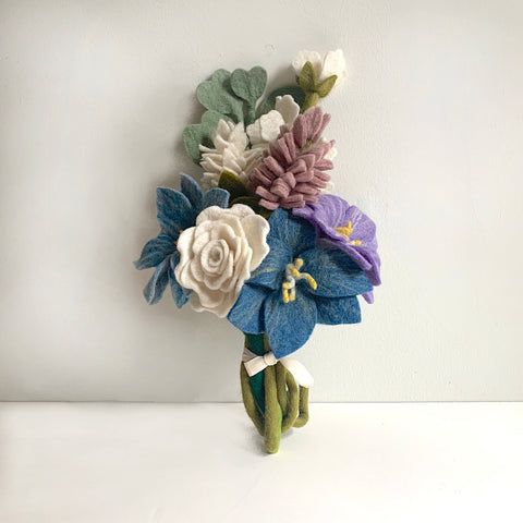Blooming Blues Felt Flower Bouquet