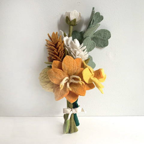 Warm Orange Felt Flower Bouquet