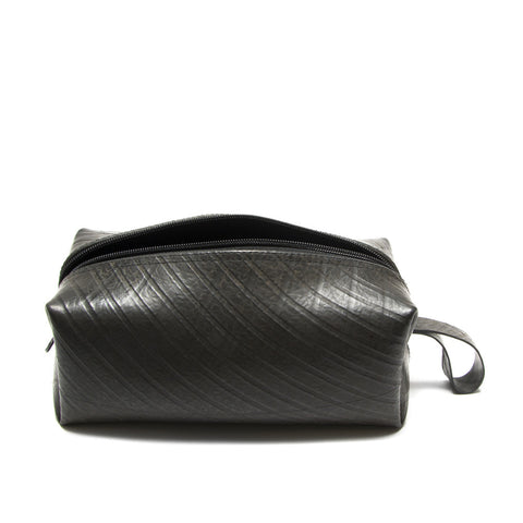 Men's Recycled Tire Travel Kit Black: Handmade in Cambodia Card Pouch Global Goods Partners modern chic zippered eco-friendly reusable fair trade women artisan guys pouch