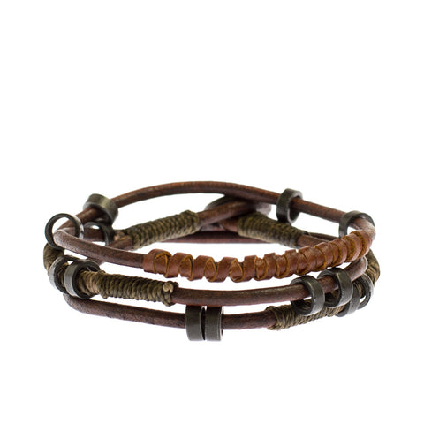 Men's Leather Wrap Bracelet handmade Guatemala artisan women fairtrade ethical sustainable design homme