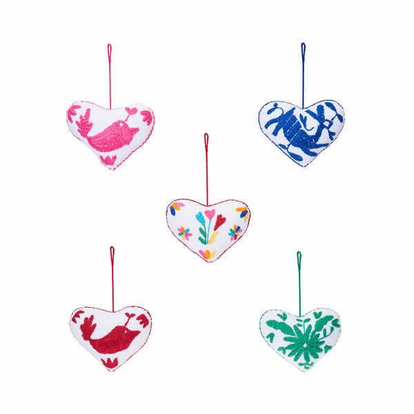 colorful cotton embroidered heart ornaments, Global Goods Partners, handmade in Mexico