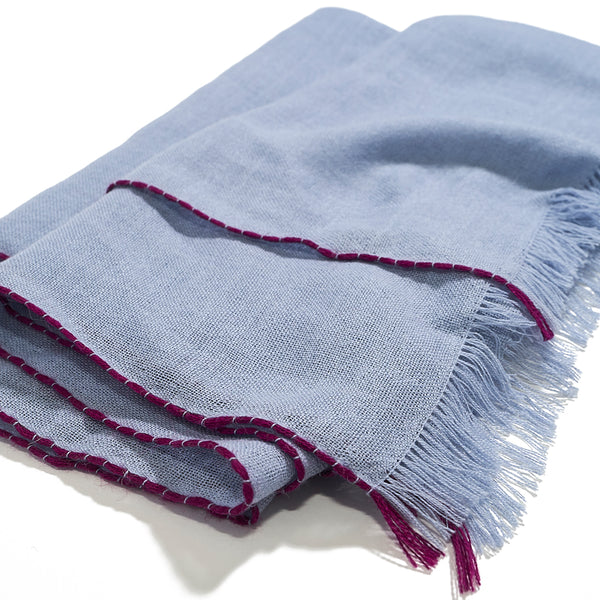 Lightweight Baby Alpaca Scarf in Baby Blue with Magenta Trim