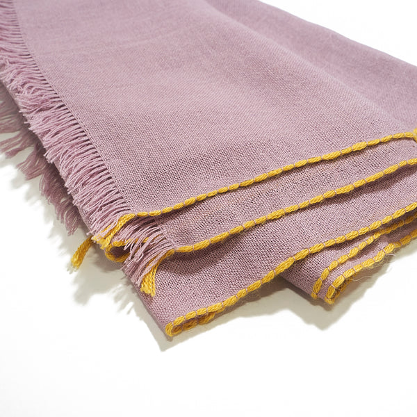 Lightweight Baby Alpaca Scarf in Lilac with Sunshine trim
