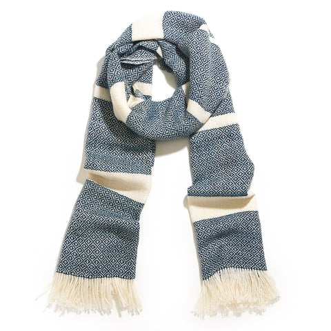 Chunky Diamond Scarf in Blue