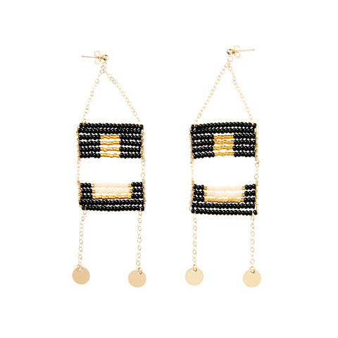 Global Goods Partners | Sidai Designs Tanzania Artisan Women Fair Trade Jewelry Handmade 14k Gold Fill Discs Swinging Statement Long Shikamo Earrings Maasai Beaded Hanging Empower Women Black Taupe