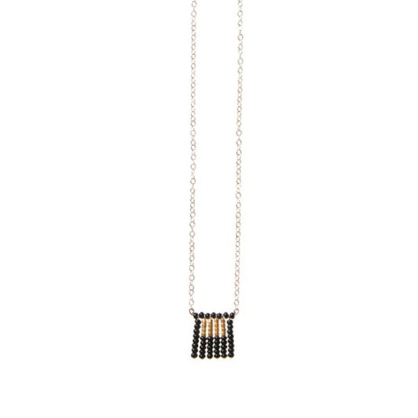 Global Goods Partners | Sidai Designs Nzuri Tassel Block Necklace Black Taupe 14k Gold Chain Glass Bead 24k Handmade Fair Trade Empower Women Artisans Gifts That Give Back Tanzania