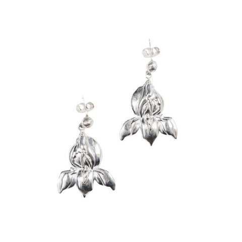Lotus Flower Sterling Silver Drop Statement Earrings Post Back Yonic Womanhood Gift for Boss Lady, Sister, Best Friend, Mentor. Handmade in India. Global Goods Partners