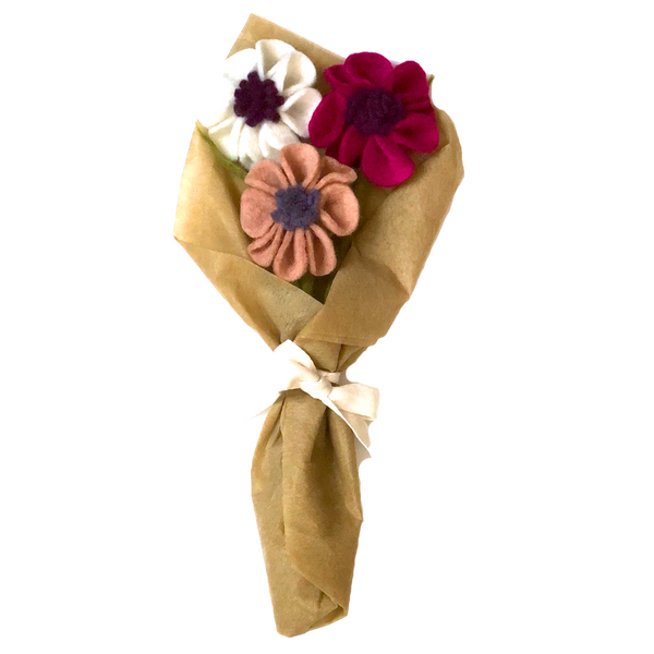 Felt Flower Bouquet Gift Wrapped Anemone Poppy Floral Wool Decorative Ethical Handmade Nepal Fair Trade Global Goods Partners Flowers