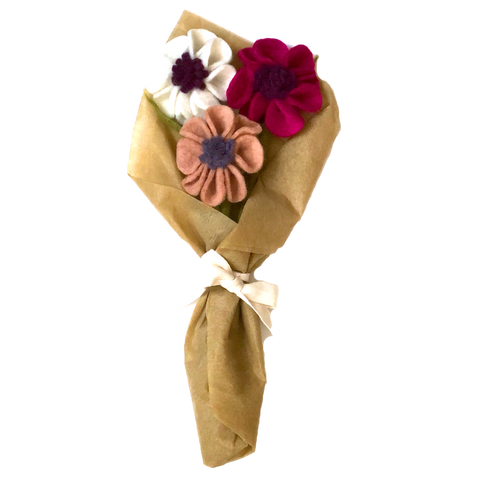 Global Goods Partners Felt Flowers Flower Bouquet Gift Wrapped Anemone Poppy Floral Wool Decorative Ethical Handmade Nepal Fair Trade
