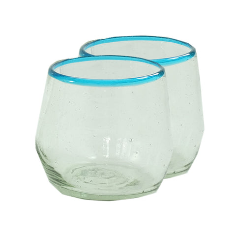 Global Goods Partners Aqua Stemless Recycled Glass Tumbler Set Wine Water Juice Cocktail Minimal Set Guatemala Copavic Food52 Glasses Sobremesa Greenheart Engagement Ethical Gift Wedding Graduation Birthday Bar Present Aqua Blue Rim