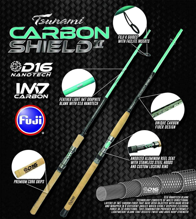 ⁣Tsunami Carbon Shield II Spinning Rods