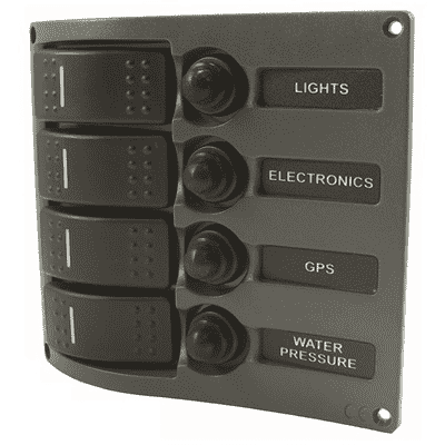 Water Resistant Switch Panel 4 Gang with Blue Led - Boater Sports