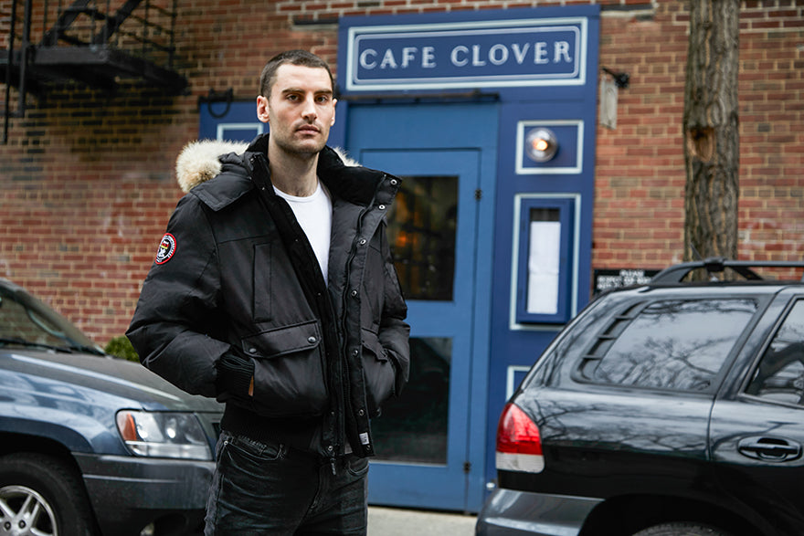 Kyle Hotchkiss Carone standing outside Cafe Clover