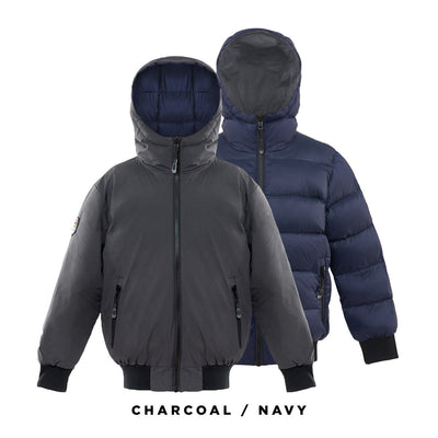 Verso Boy's Reversible Down Jacket Triple F.A.T. Goose Charcoal 8/10