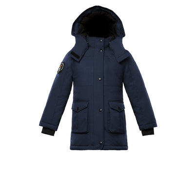 Madigan Girl's Coat Triple F.A.T. Goose Navy With Fur 4