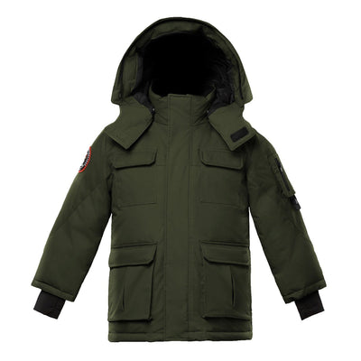Chenega Boy's Parka Triple F.A.T. Goose Olive With Fur 4