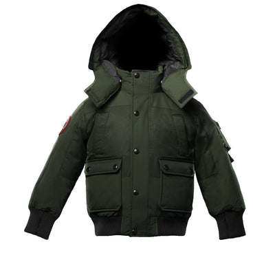 Grinnell Boy's Bomber Jacket Triple F.A.T. Goose Olive With Fur 4