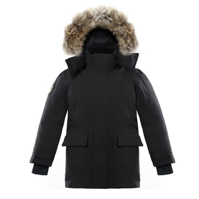 Huron Boy's Waterproof Parka Triple F.A.T. Goose Black 8/10