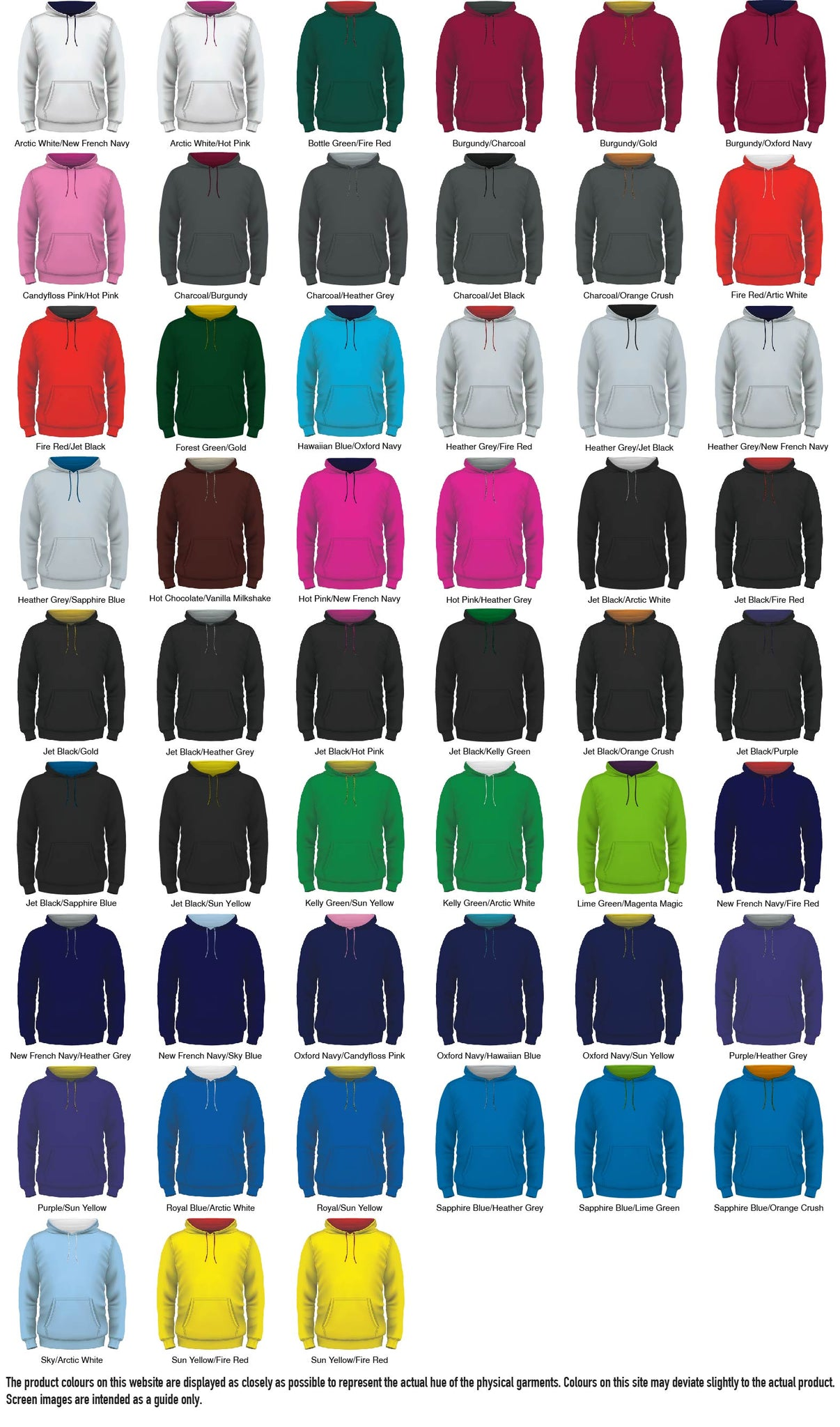Adult hoodie Colour Options
