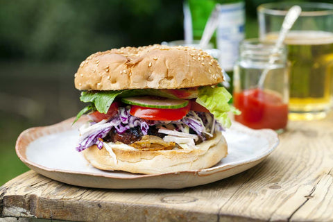 Mice beef burger, Aussie style, made with with chilled grass-fed beef