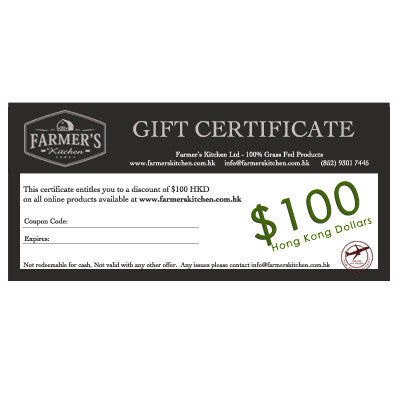 Farmer's Kitchen 100% grass fed gift certificates for meat delivered across Hong Kong