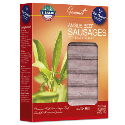 NIPPERS - 2 x packs 100% Angus Beef par cooked sausages with sage and parsley