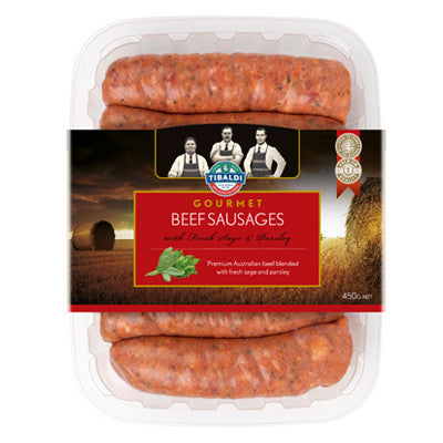 Frozen Beef Sausages with a touch of sage and parsley - Pack of 6
