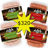 Frozen mixed Sausage Pack - 2 pck of beef & 2 pck pork sausages GLUTEN FREE