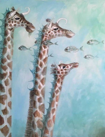 Sea Giraffes Art Title - Online Art Shop Brighton, UK