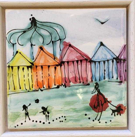 Beach Huts with Bandstand Tile Art Title - Online Art Shop Brighton, UK