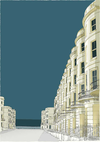 Brunswick Place & the Sea Art Title - Online Art Shop Brighton, UK
