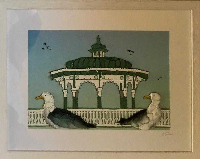 Gulls at the Bandstand II Art Title - Online Art Shop Brighton, UK