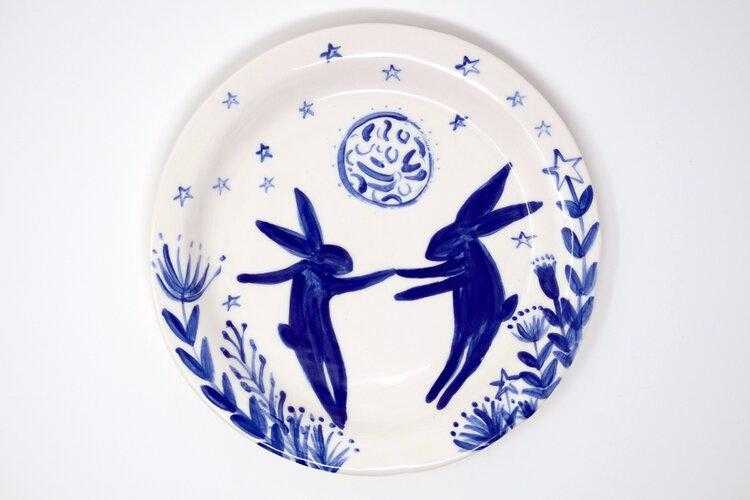Medium Moon Hare Plate Art Title - Online Art Shop Brighton, UK
