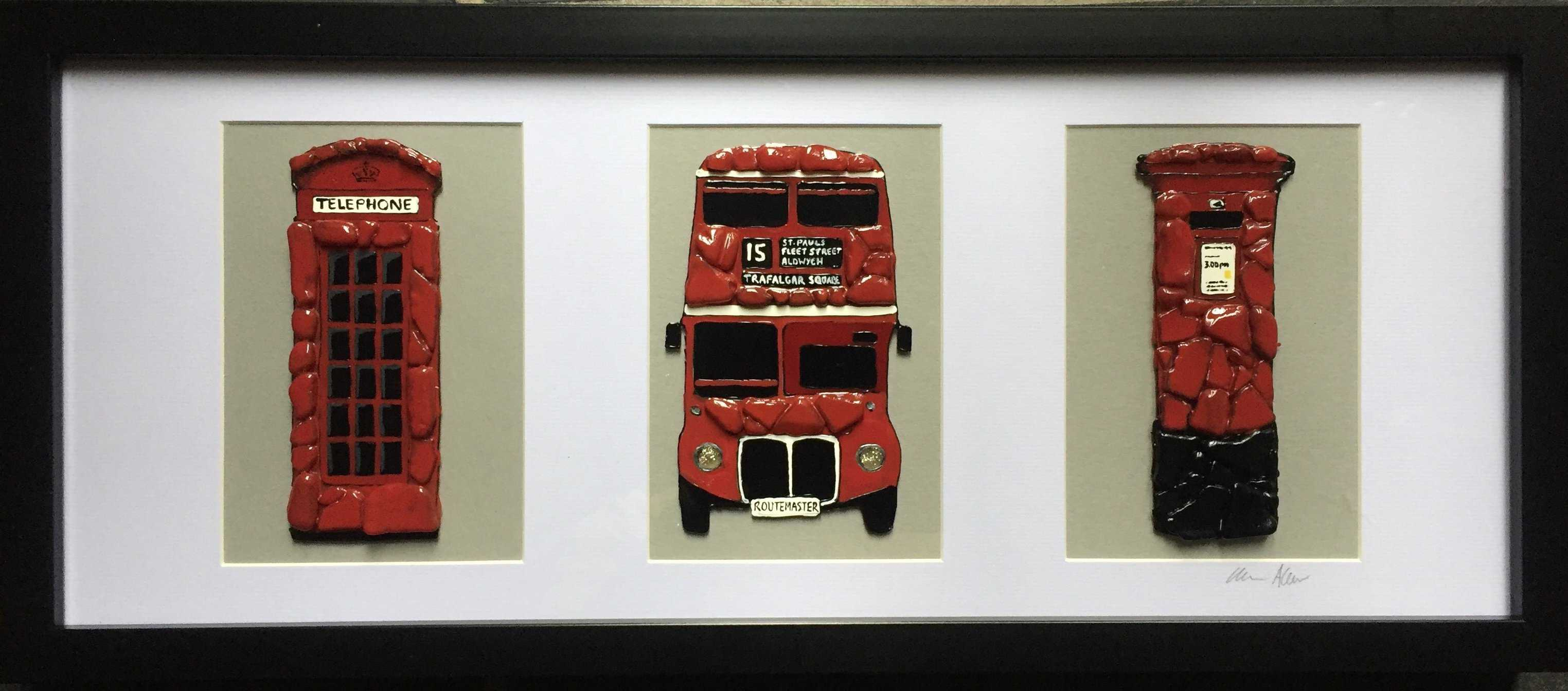 Red London Trio Art Title - Online Art Shop Brighton, UK