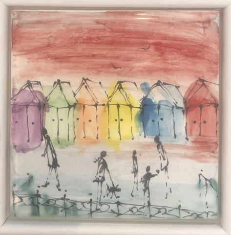 Small Beach Huts Tile