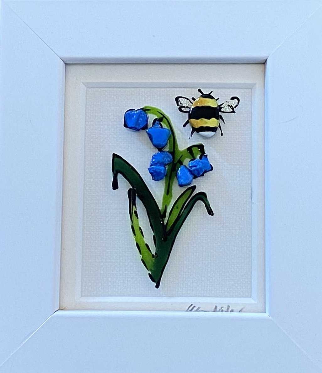 Small Bluebell Bee Art Title - Online Art Shop Brighton, UK