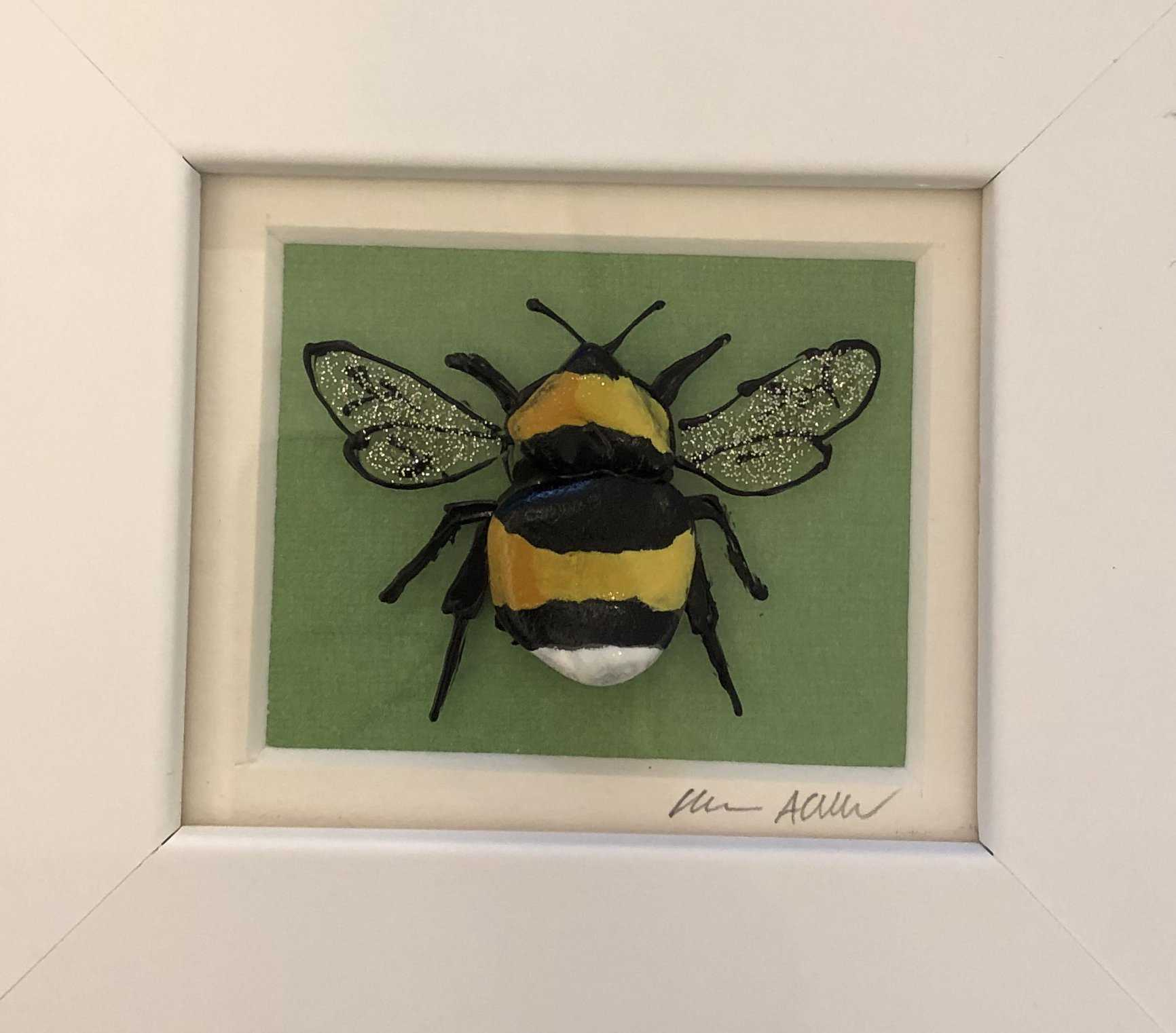Small Green Bee Art Title - Online Art Shop Brighton, UK