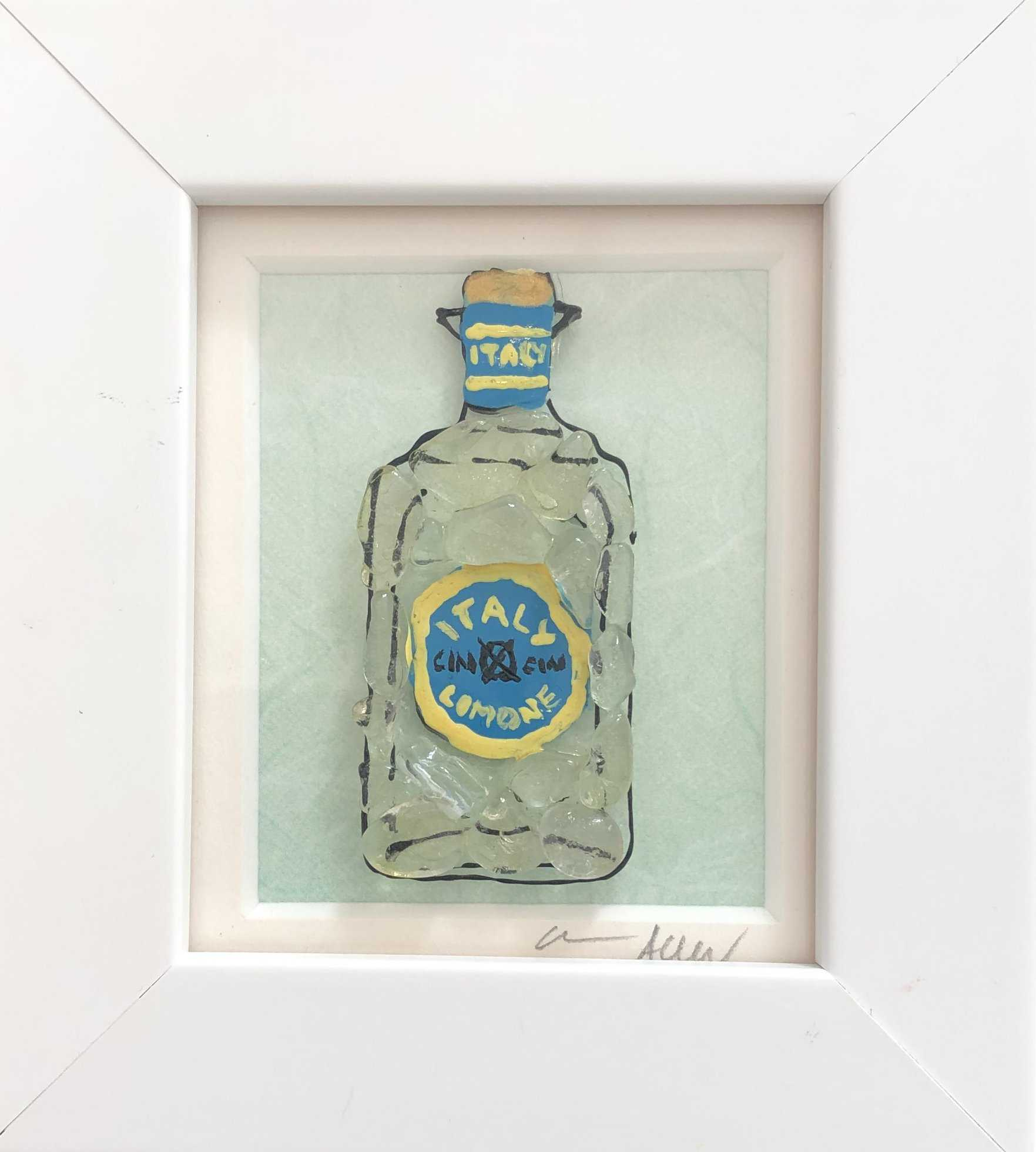 Small Green Gin Bottle Art Title - Online Art Shop Brighton, UK