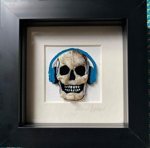 Boxy Blue Headphones Skull