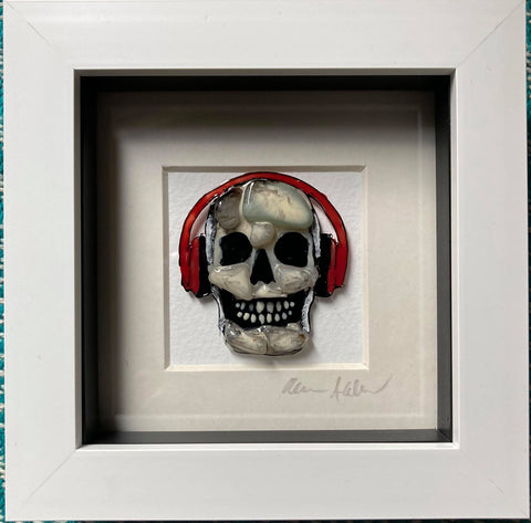 Boxy Red Headphones Skull