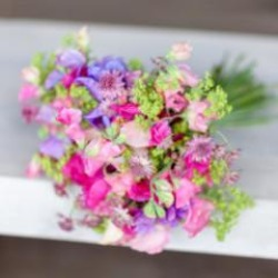 Sweet Pea and Alchemilla mollis - British Flowers