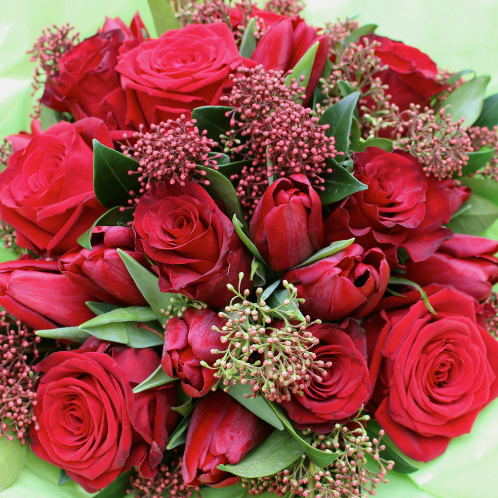 Send Flowers In London Ruby Red Rose And Tulip Bouquet Amanda