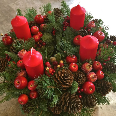 Traditional Red Advent Wreath Amanda Austin Flowers