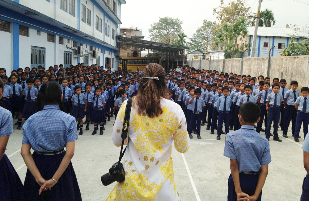 Earlier this year, Partners International's Partnership manager, Renee Heemskerk visited Cornerstone School. The photo above is of Renee addressing the 421 Cornerstone School students one morning.