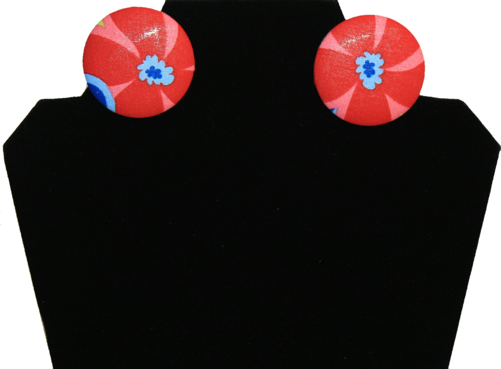 Blue Flower Button Earring