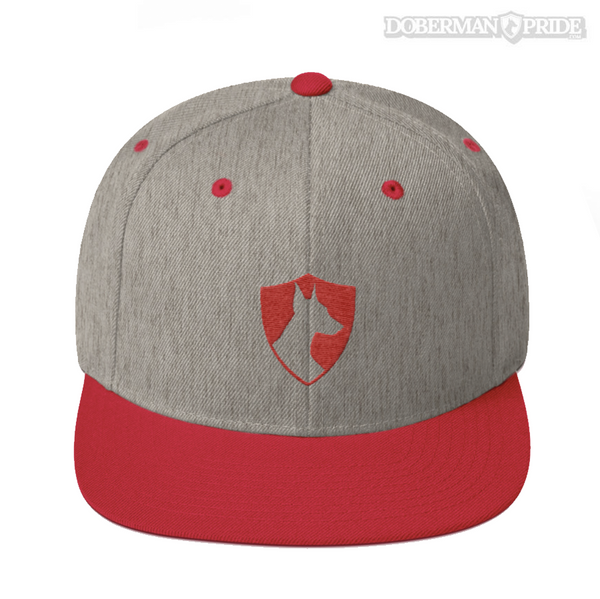 Crest Snapback Hat - Grey/ Red